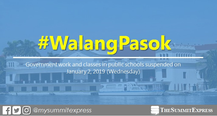 Classes in public schools; gov't work suspended on January 2, 2019
