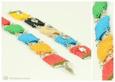 Pulsera Picasso de macrame con figuras cuadradas multicolor