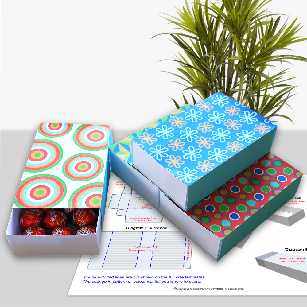 Set of four matchbox style gift boxes with modern geometric patterns from A four Printables.