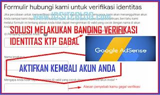 Gagal verifikasi identitas KTP dalam proses meng upload bisa saja di rasakan semua oleh publisher google Adsense termasuk saya juga