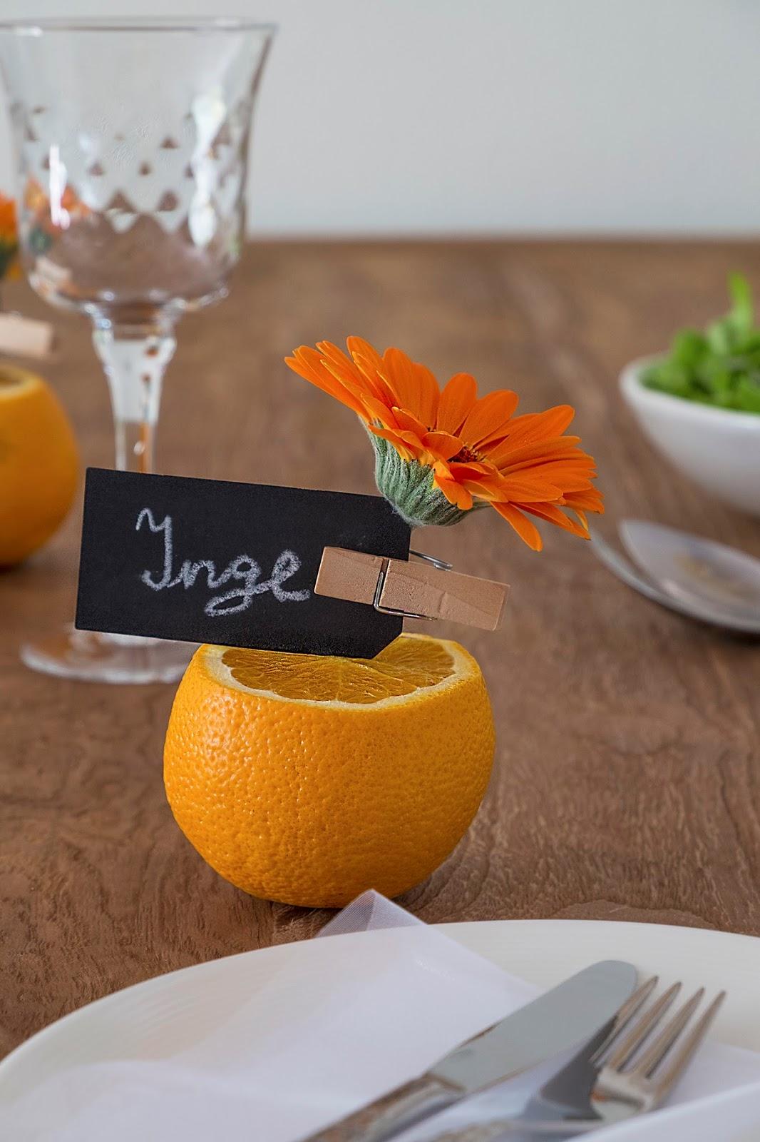 Tafeldecoratie met Gerbera's en sinaasappels, ElsaRblog