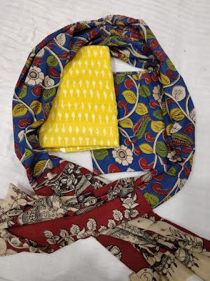 Ikkat cotton and Kalamkari combination dress materials | Suits, chudidars, churidar, Salwars, dupattas,top and bottom