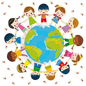 Resultat d'imatges de dibjo de niños alrededor mundo