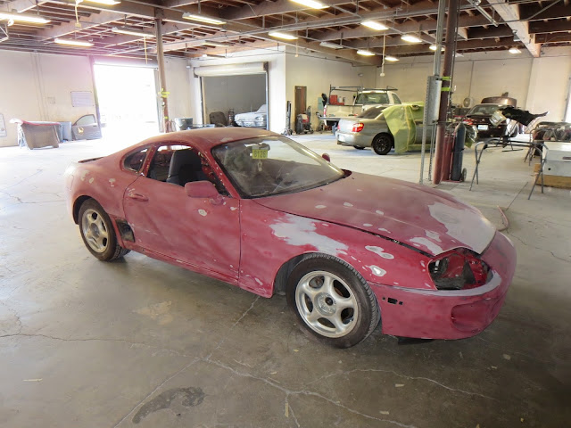Surface reconditioning & sanding prior to paint on 1995 Toyota Supra at Almost Everything Auto Body