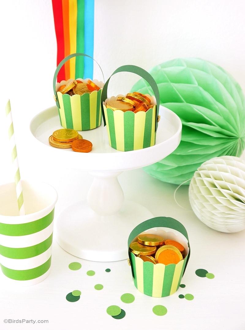St Patrick's Day | DIY Pot of Gold & Rainbow Pompom - BirdsParty.com