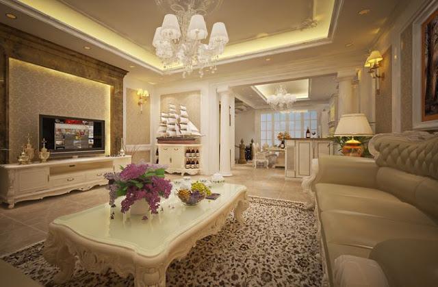 Mẫu thiết kế nội thất phòng khách BIỆT THỰ TÂN CỔ ĐIỂN DỰ ÁN LUOIS CITY ĐẠI MỖ