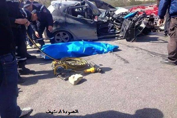 قتيلان وجريح في حادث مرور مروع بالطريق السيار بالشلف