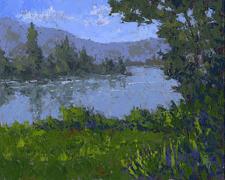 landscape painting mountain lake water green summer