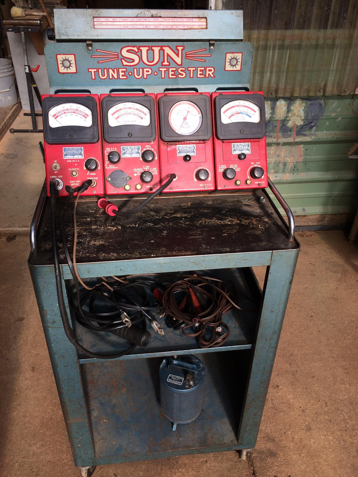 Sun Test Equiment Tune Tach Wiring Diagram This Is A Up Tester Tut Circa 1952 It Comprised Of 4 Separate Meters Dwell Tdt 2 Volts Ignition Vit