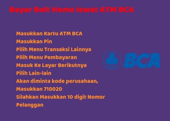 Tutorial cara bayar Bolt Home lewat atm BCA