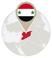 Syrian flag and map