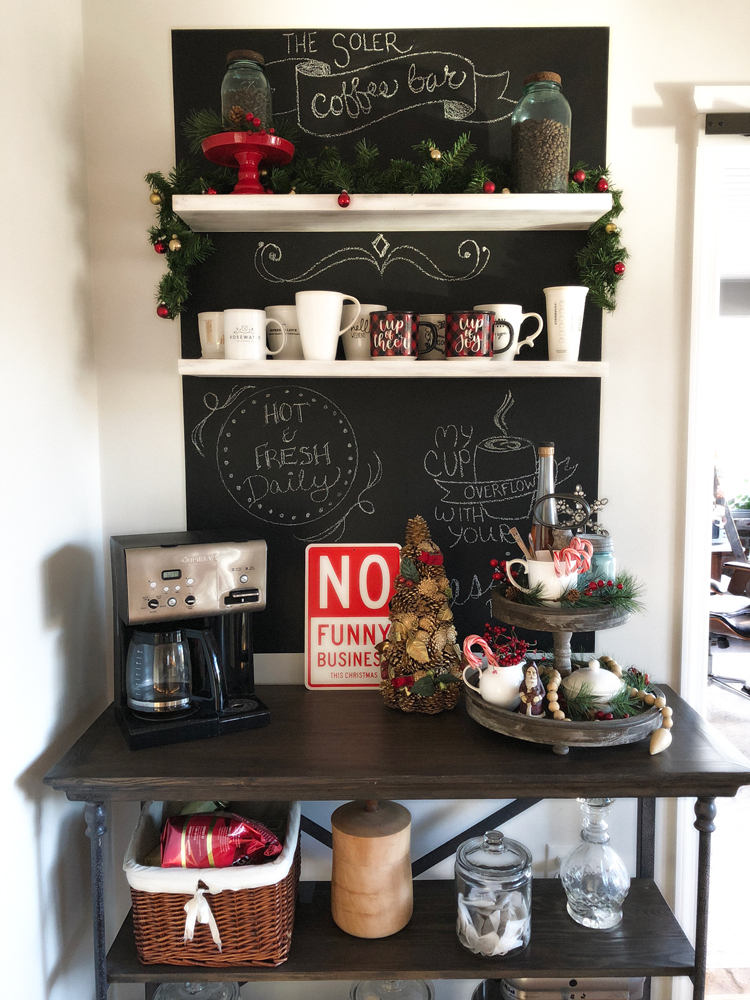 coffee bar decorated for Christmas