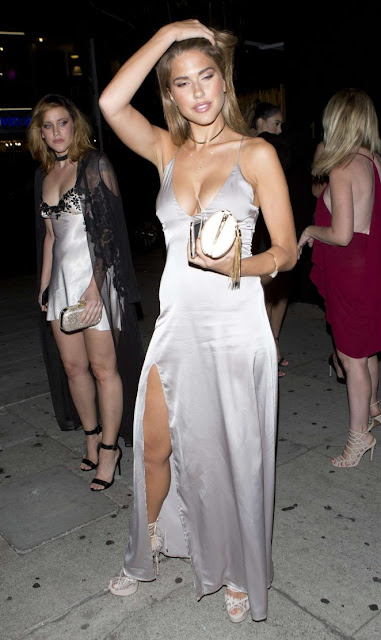 Kara Del Toro in silver evening dress out in West Hollywood