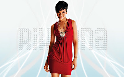 rihanna red dress widescreen hd wallpaper