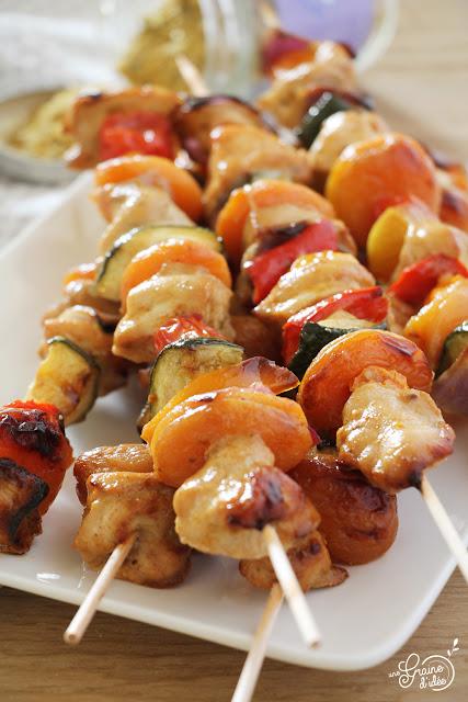 Recette Brochettes Poulet Abricot Courgette Poivron Tomate Oignon Marinés