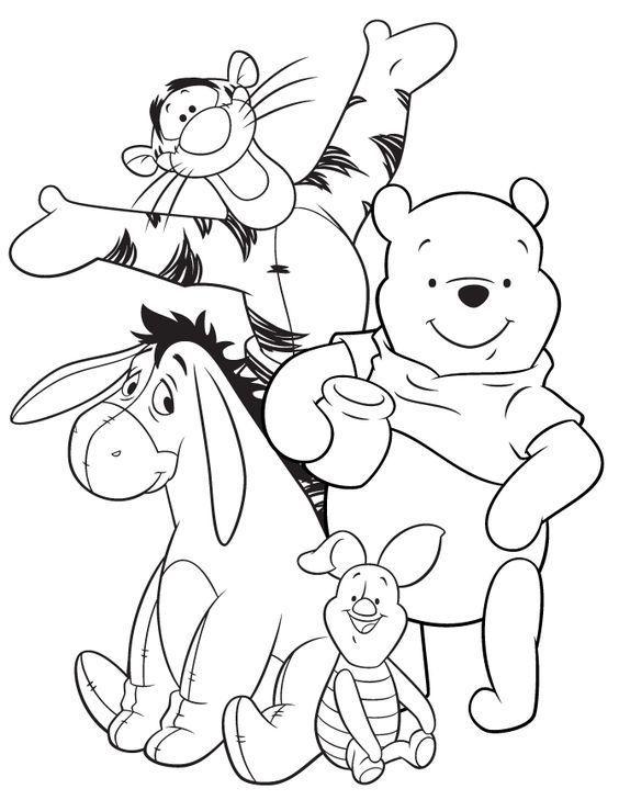 Tranh cho bé tô màu gấu Pooh 8