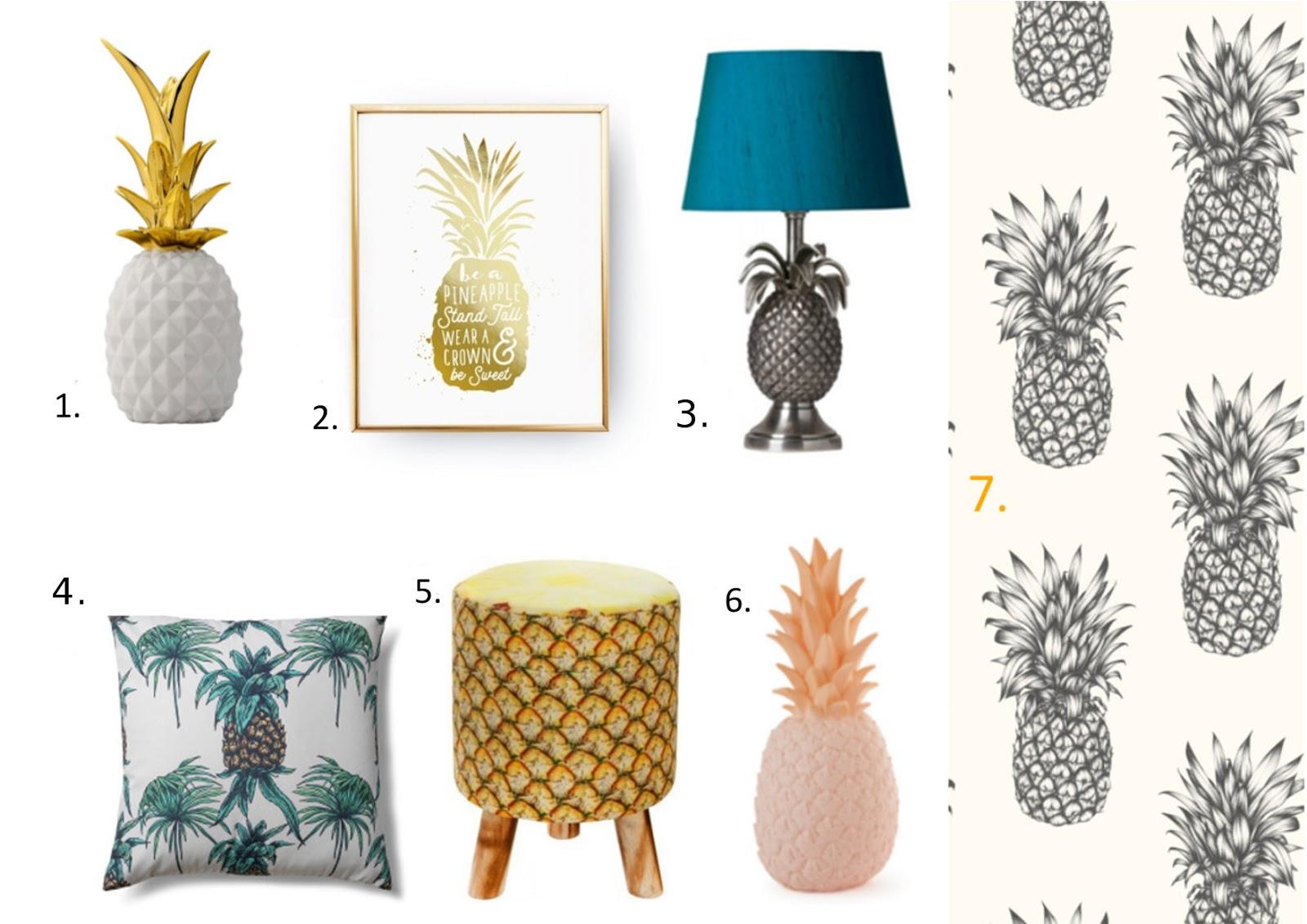 dodatki do wnętrz z motywem ananasa
