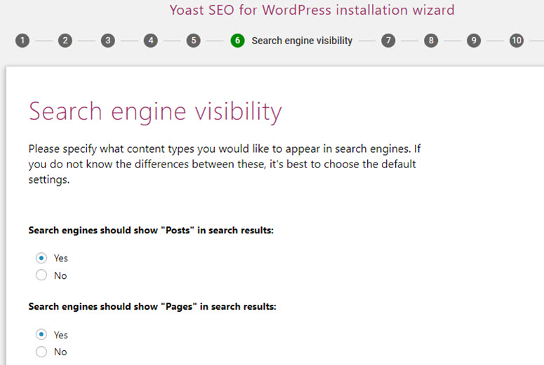 yoast seo search engine visibility