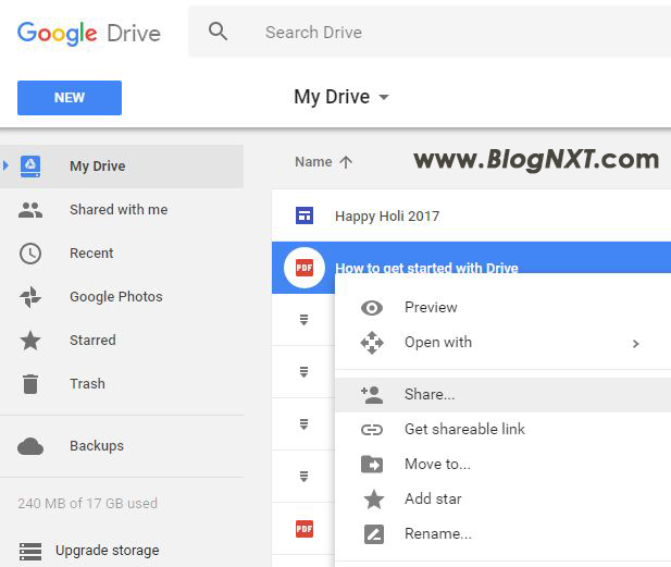 Google Drive Share File