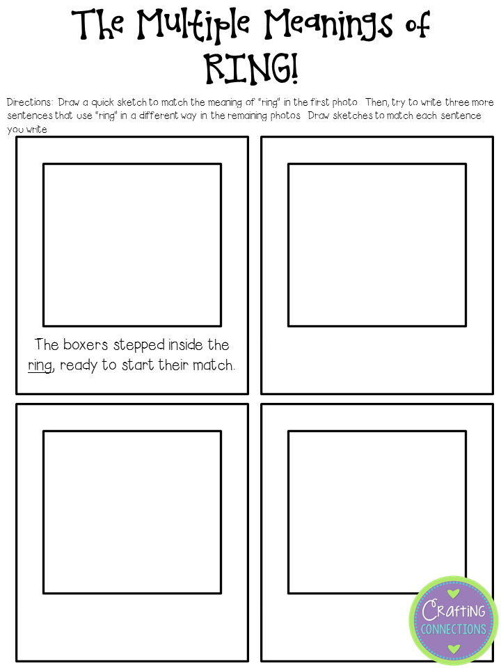 math worksheet : crafting connections multiple meaning words anchors away monday  : Words With Multiple Meanings Worksheet 3rd Grade