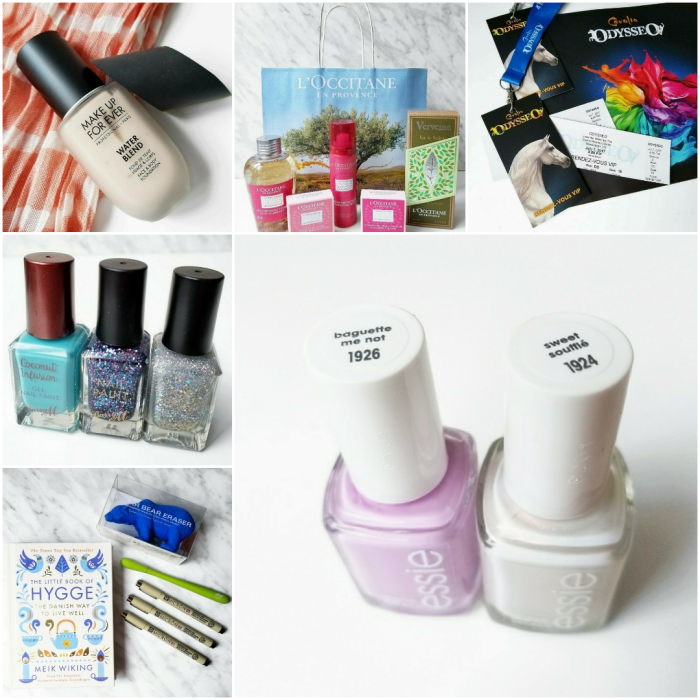 bbloggers, bbloggersca, canadian beauty bloggers, instamonth, instagram roundup, beauty blog, make up for ever, water blend foundation, l'occitane, odysseo, cavalia odysseo, barry m nail polish, nail paint, essie, baguette me not, sweet souffle, birthday gifts, kikkoman animal eraser, hygge, pigma micron, slice cutter