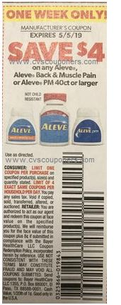 $4.00/1 Aleve or Aleve Back & Muscle Pain or PM 40-ct Smart Source insert 04/28/19-LIMIT 4 (EXP: 6/23)