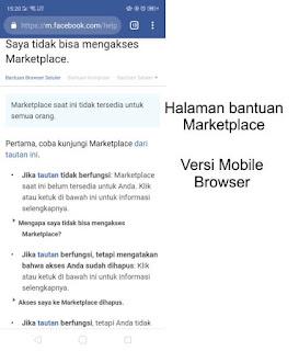 Halaman Help Tidak Bisa Akses Marketplace Facebook Versi Mobile Browser