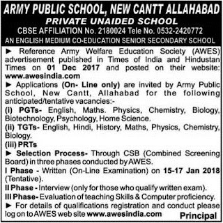 Army Public School Allahabad Recruitment 2018 TGT PGT Jobs