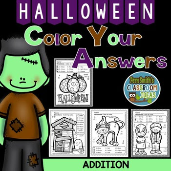 Halloween Fun! Basic Addition Facts - Color By Numbers