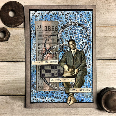 Sara Emily Barker https://sarascloset1.blogspot.com/ Masculine Mixed Media Card With Tim Holtz Products  1