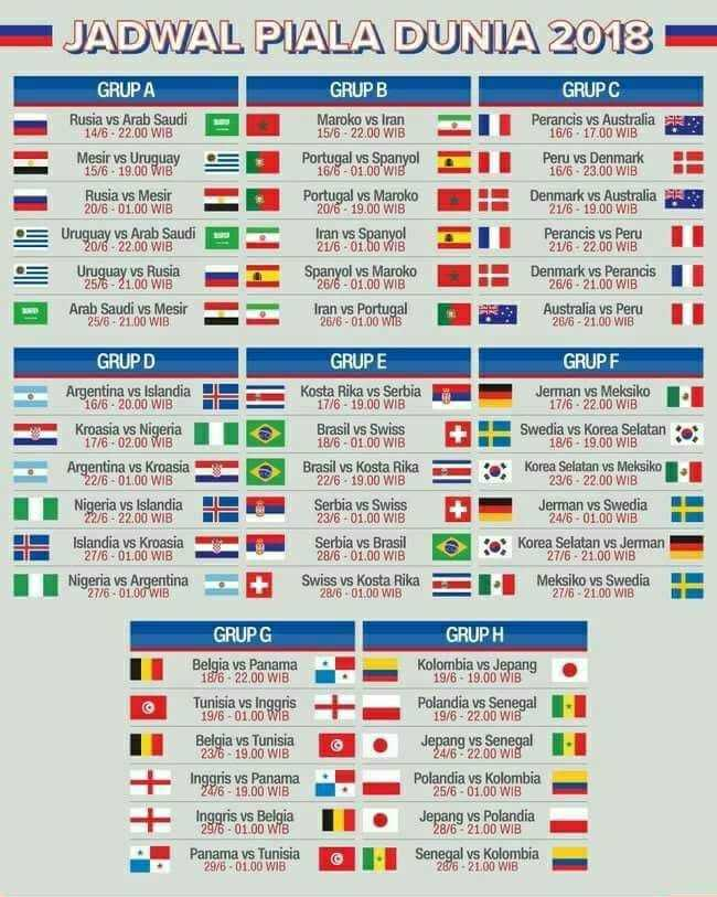 Jadwal Siaran Langsung Piala Dunia Rusia  Live Streaming Malam Hari Ini
