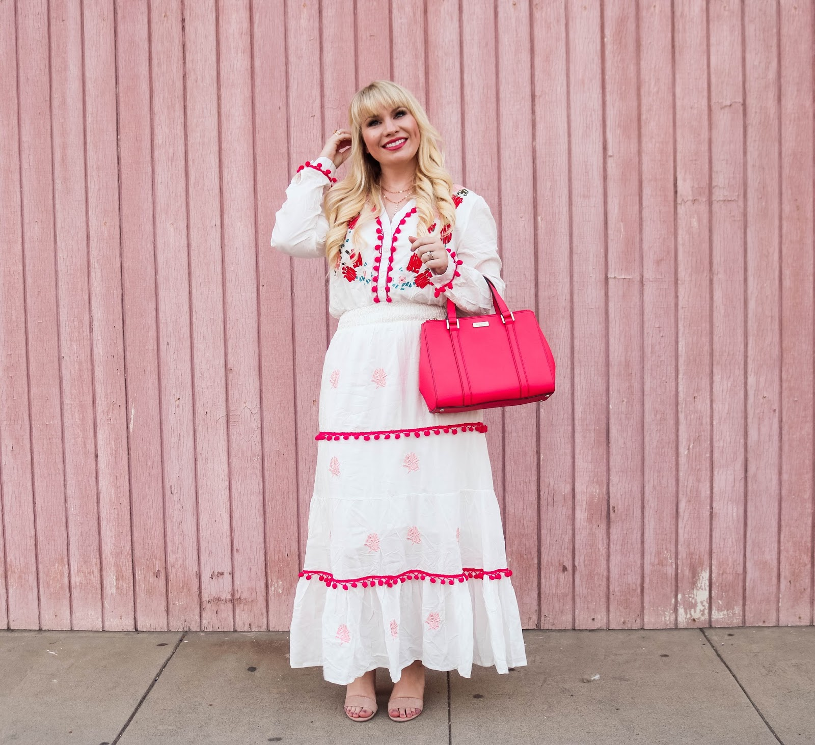 Embroidered Maxi Dress with Pom Poms