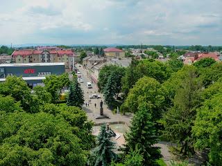 Самбір. Вигляд на вул. Тараса Шевченка з годинникової вежі