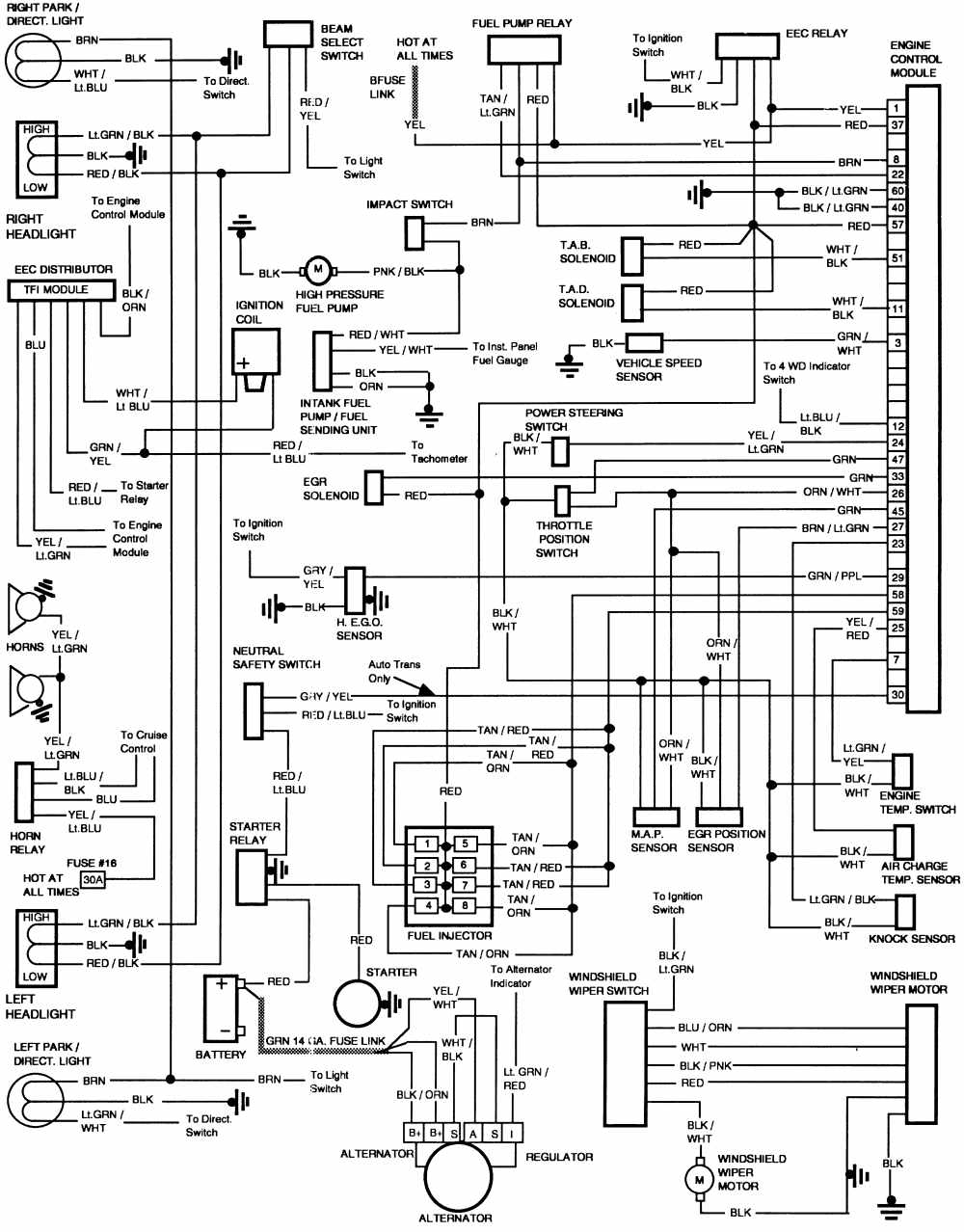 1990 ford f 250 headlight wiring diagram 1990 ford f 250 ignition wiring diagram ford f-250 1986 engine control module wiring diagram | all ...