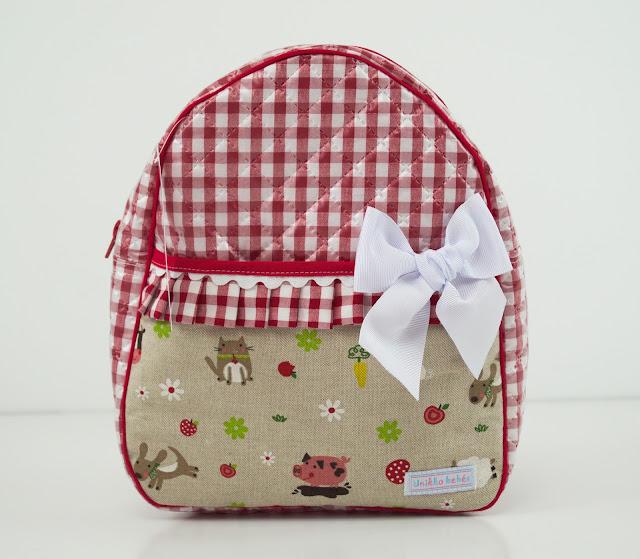 mochila animalitos guarderia rojo