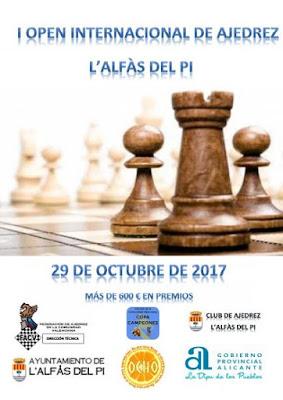 """I Open Internacional de Ajedrez l'Alfàs del Pi  «29 Octubre 2017»<br /><img border=""""0"""" src=""""https://3.bp.blogspot.com/-y_aaU0FTncM/V0APF_0MnxI/AAAAAAAAsi8/QfB3r4uk_BAcFSYADUEQAk_lwedJf-ujACKgB/s1600/recomendado.png"""" />"""