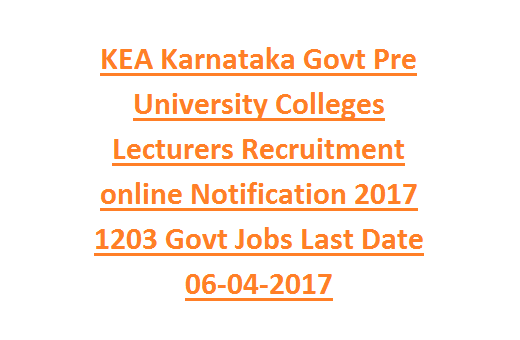 KEA Karnataka Govt Pre University Colleges Lecturers Recruitment