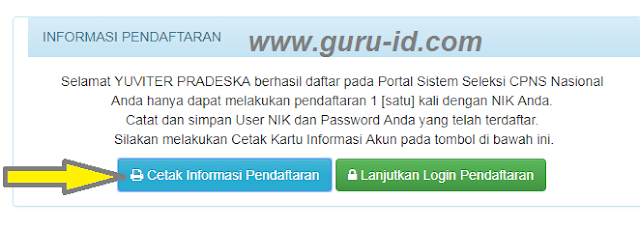 GAMBAR registrasi sscn bkn berhasil