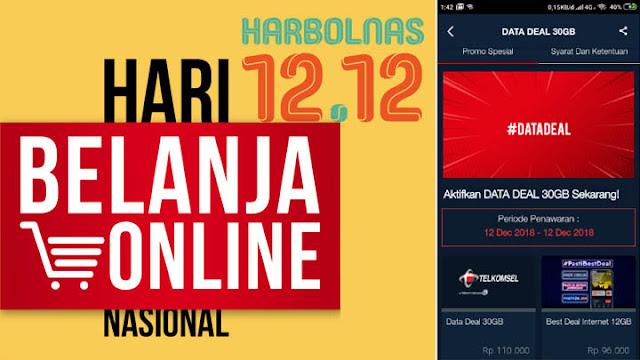 Paket Telkomsel Harbolnas 12.12 Data Deal 30GB dan 12GB Telkomsel 24 jam Cuma 100.000 30Hari 24 jam