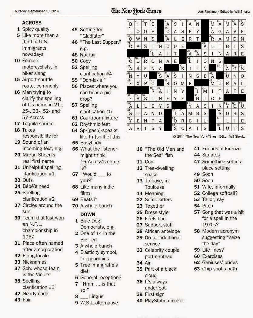 The New York Times Crossword in Gothic: 09.18.14 — QRCIU