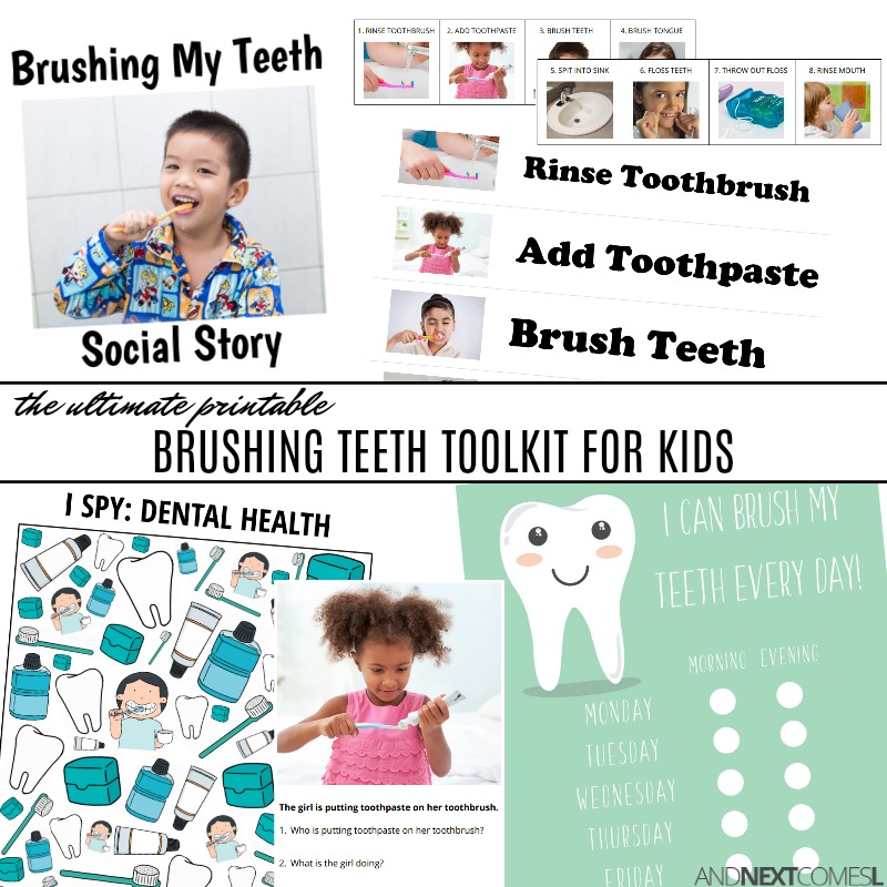 Printable life skills toolkit for kids about how to brush their teeth