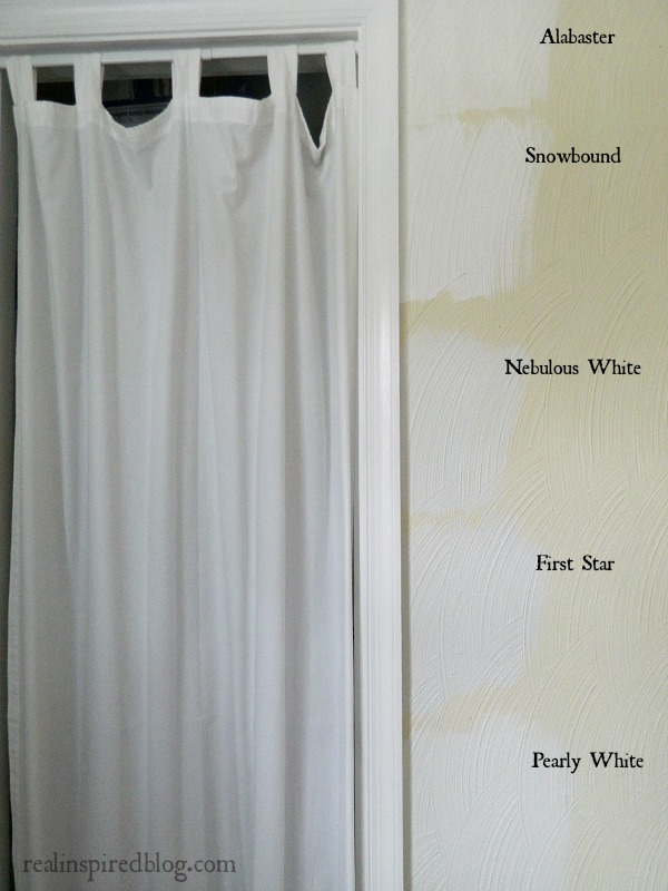 Picking a Paint Color for the Craft Room- Picking between Sherwin Williams Pearly White, Alabaster, Snowbound, Nebulous White, and First Star.