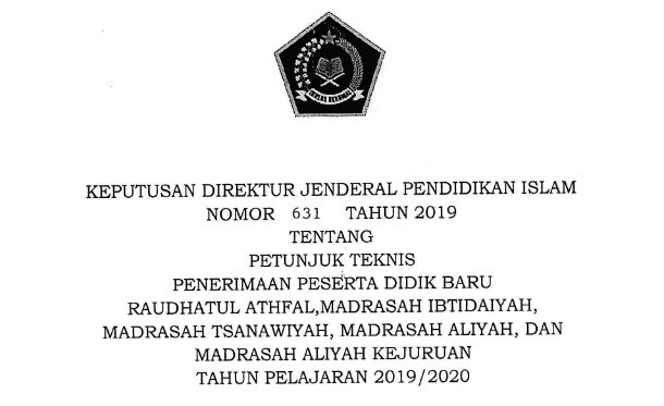Juknis PPDB RA dan Madrasah (MI, MTs, MA, MAK) Tahun 2019