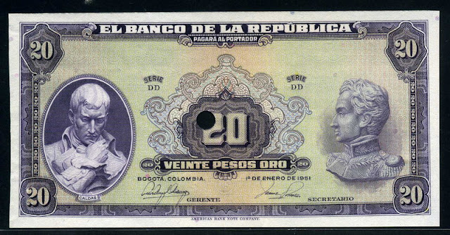 Colombian Pesos banknote money currency