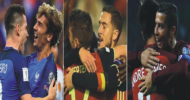França, Bélgica e Portugal vencem na Segunda de Eliminatórias