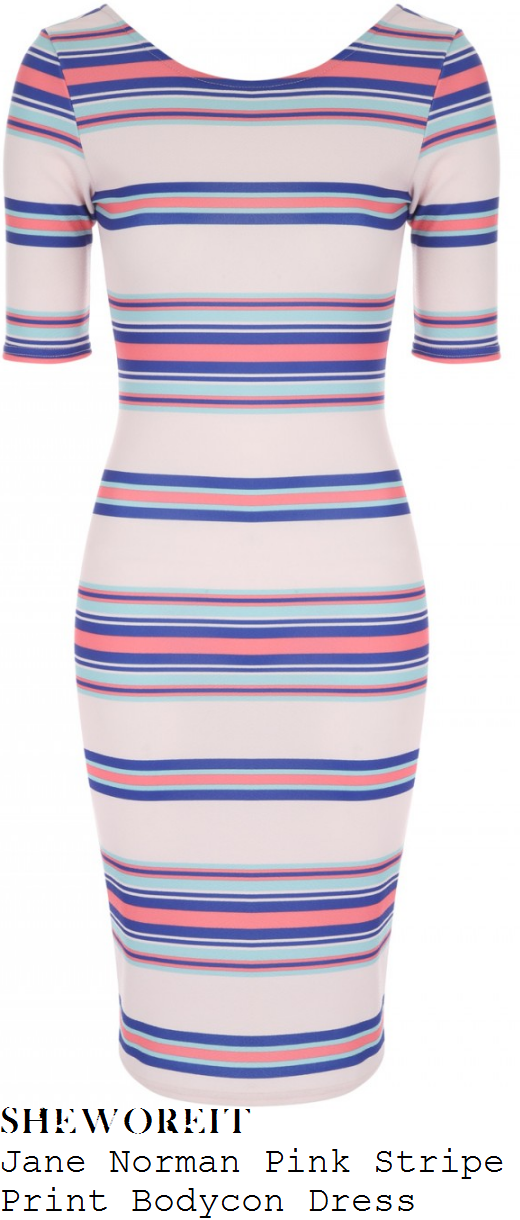 susanna-reid-jane-norman-nude-pink-coral-and-blue-stripe-print-half-sleeve-bodycon-dress