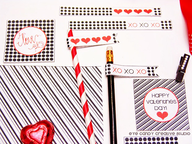 free valentines day, black & white printables, polka dots, hand lettering