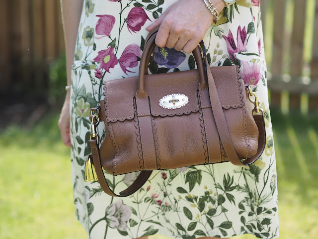 Ethical fashion Braintree botanical floral print dress with tan sandals and Mulberry small Bayswater cookie cutter bag. Over 4