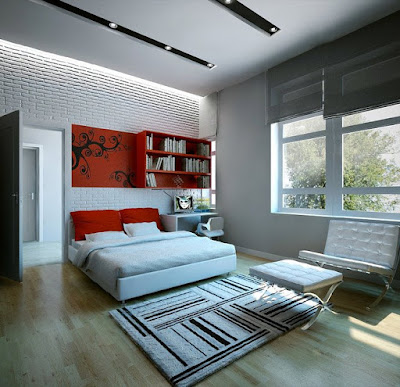 Modern bedroom sets in lightly colors and with stylish frieze carpet
