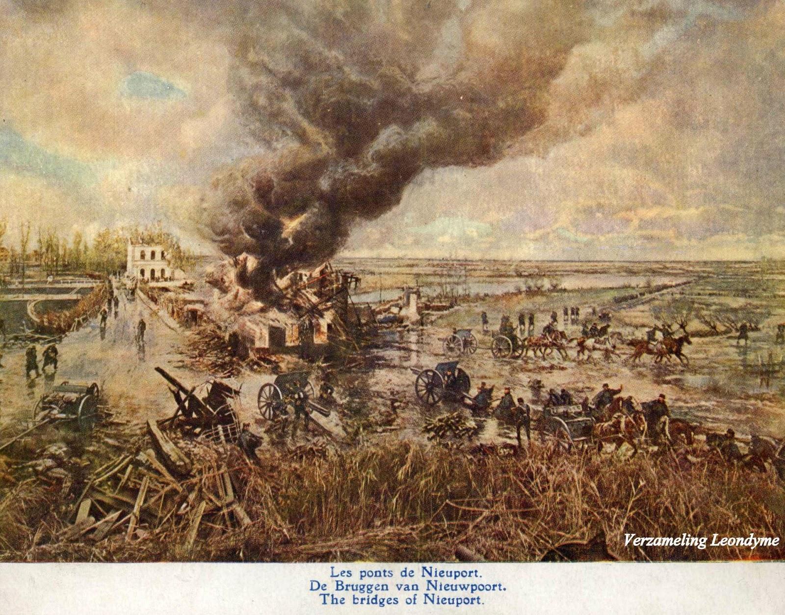 Slag aan de  IJzer door Alfred Bastien.  De Bruggen van Nieuwpoort. Verzameling Leondyme